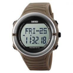 50M Waterproof Heart Rate Monitor Pulse Watch - Brown
