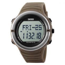 50M Waterproof Heart Rate Monitor Pulse Watch - Brown