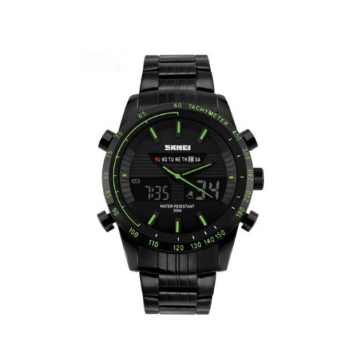 30M Waterproof Multimode Watch With Week Hour Minute Seconds Display - Green