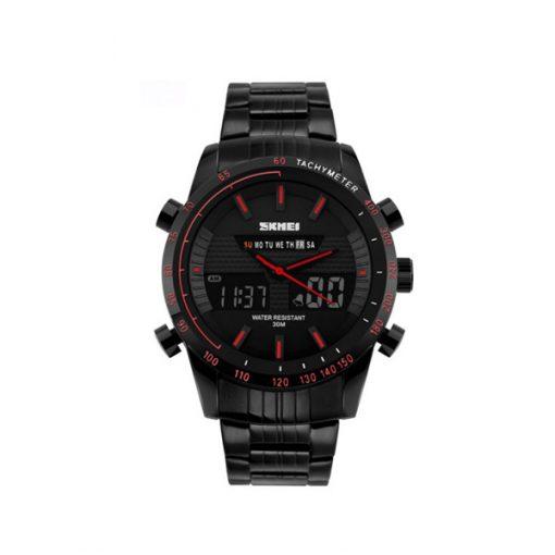 30M Waterproof Multimode Watch With Week Hour Minute Seconds Display - Red