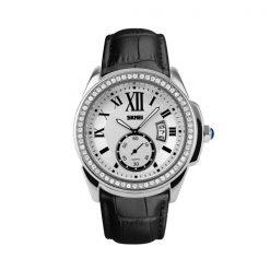 Casual Leather Analog Quartz Watch - Black