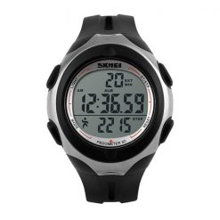 50M Waterproof Pedometer Watch With Stop Watch Timer - Black