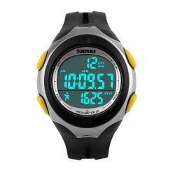 50M Waterproof Pedometer Watch With Stop Watch Timer - Yellow