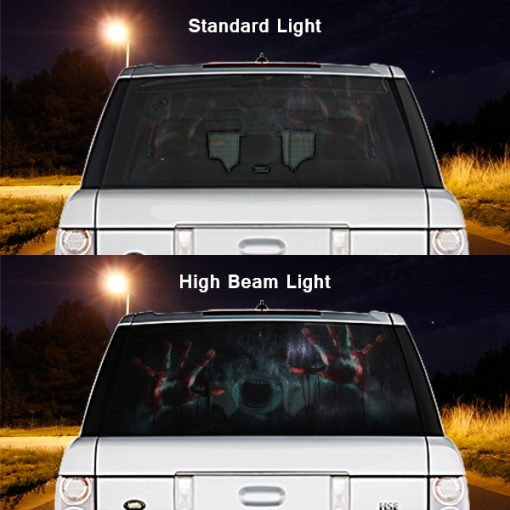 High Beam Scary Car Tint Rear Window Sticker DT07 - Black