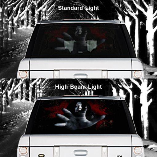 High Beam Scary Car Tint Rear Window Sticker DT06 - Black