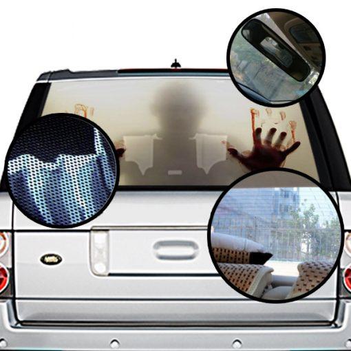 High Beam Scary Car Tint Rear Window Sticker DT08 - Black