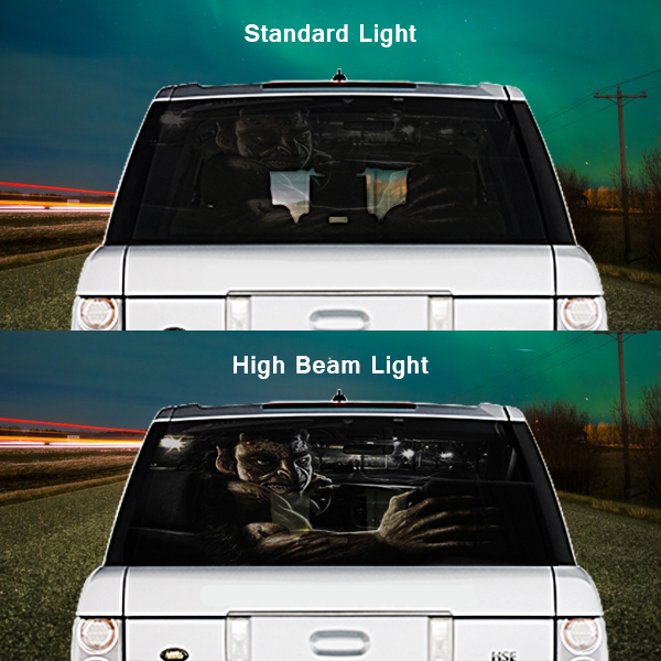 High Beam Scary Car Tint Rear Window Sticker DT14 - Black