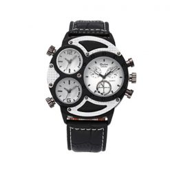 Oulm 3 Time Zones Scratch Resist Watch 3594 - White