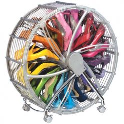 56cm 12 Pairs Shoe Wheel Storage - Silver