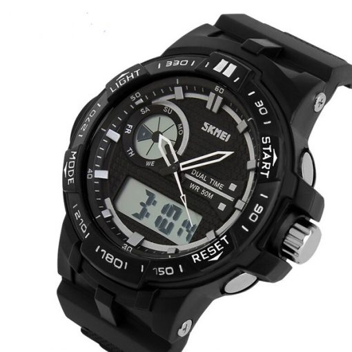 50M Waterproof Dual Mode Chronograph Watch -  Black