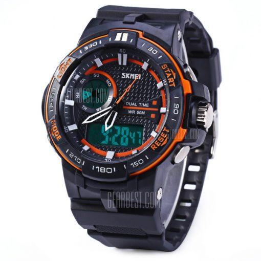 50M Waterproof Dual Mode Chronograph Watch -  Orange