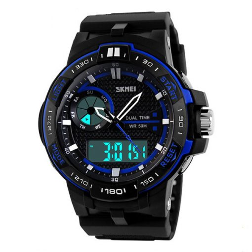 50M Waterproof Dual Mode Chronograph Watch  -  Blue