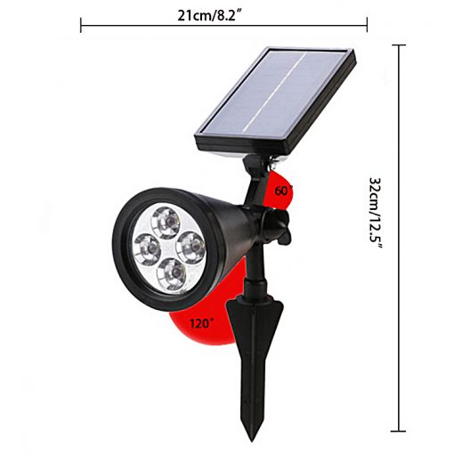 3 Watts Solar Charged Waterproof Outdoor Garden LED Light - Black