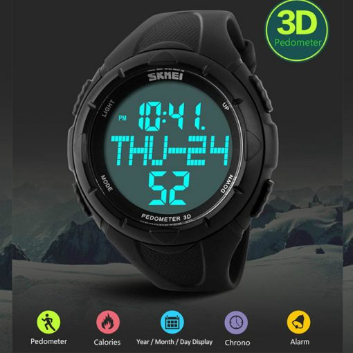 50M Waterproof Sport Watch With Stop Watch Timer - Black