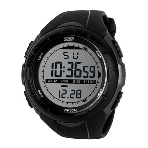 50M Waterproof Sport Watch With Stop Watch Timer - Silver/Black