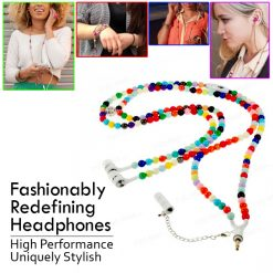 3.5mm Necklace Headphone With Mic In Assorted Pearl Design  - Rainbow