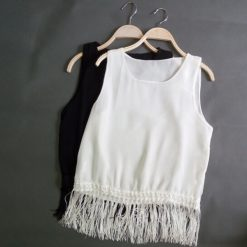 Casual Sleeveless Shirt Tassel Fringed  - White
