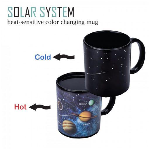 355 ml Solar System Heat Sensitive Color Changing Magic Mug - Black