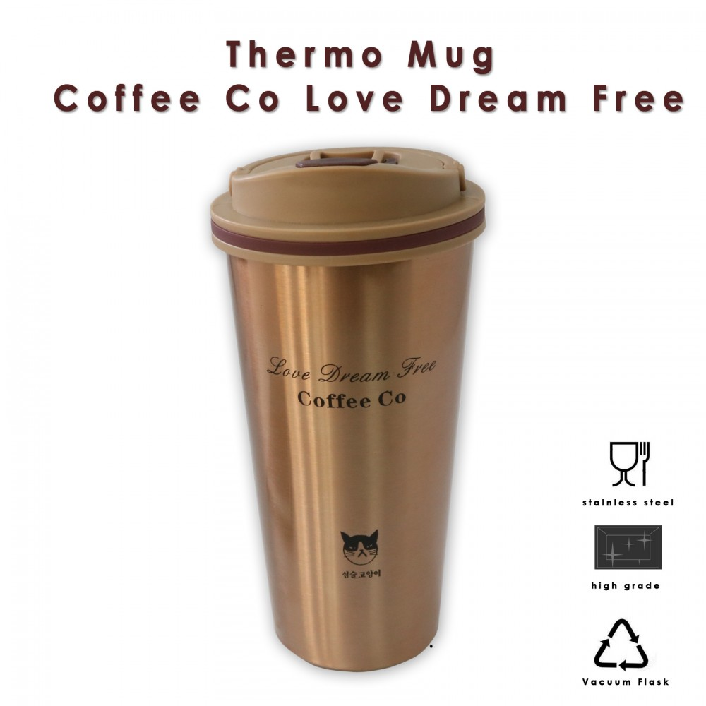 650 ml Stainless Thermos Coffee Mug With Suction Spout - Brown