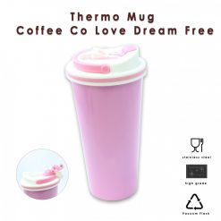 650 ml Stainless Thermos Coffee Mug With Suction Spout  - Pink