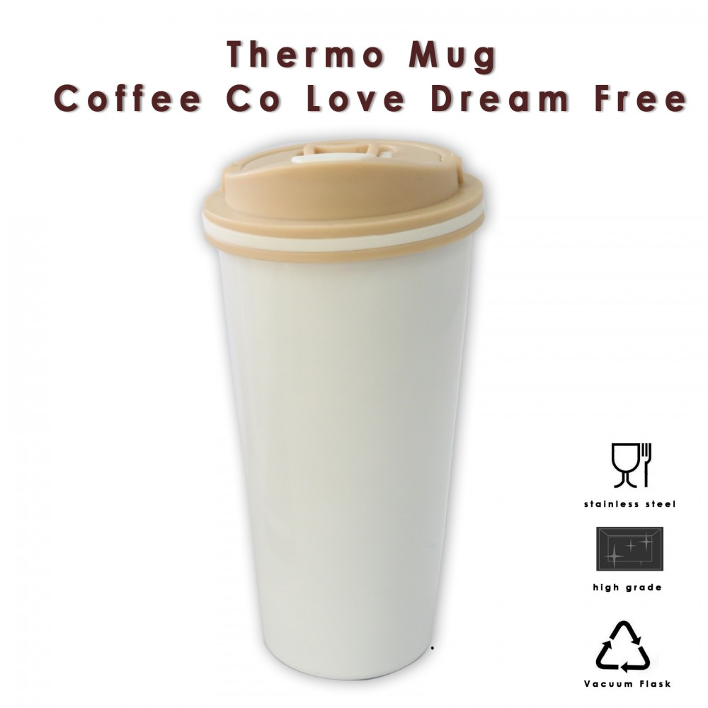 650 ml Stainless Thermos Coffee Mug With Suction Spout  - White