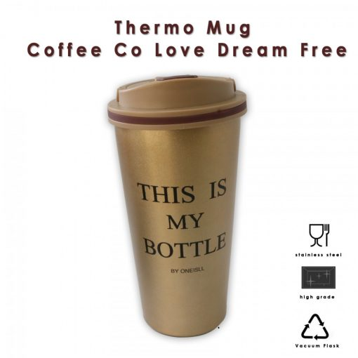650 ml Stainless Thermos Coffee Mug With Suction Spout  - Gold