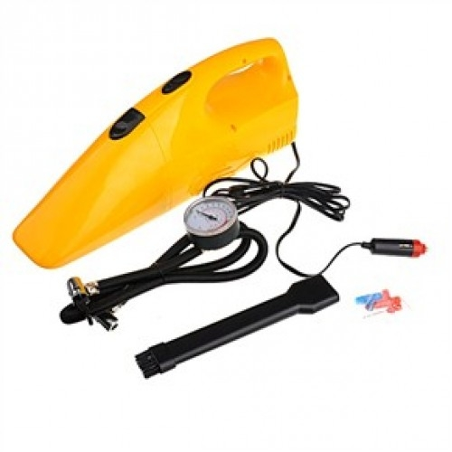 2 in 1 12V Vacuum Cleaner with 250 PSI Tire Inflator Compressor - Yellow