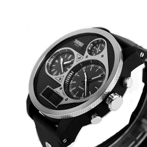50M Waterproof Dual Mode 3 Time Zone Chrono Watch - Black