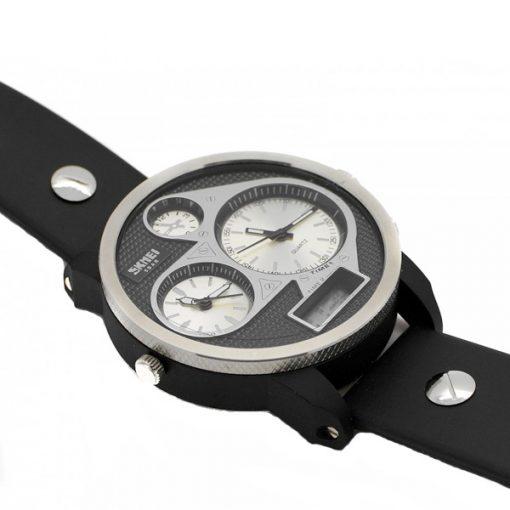 50M Waterproof Dual Mode 3 Time Zone Chrono Watch - White
