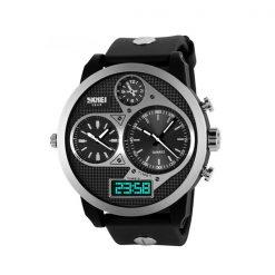 50M Waterproof Dual Mode 3 Time Zone Chrono Watch - Black