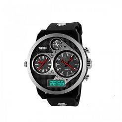 50M Waterproof Dual Mode 3 Time Zone Chrono Watch - Red