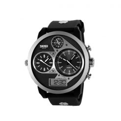 50M Waterproof Dual Mode 3 Time Zone Chrono Watch - White
