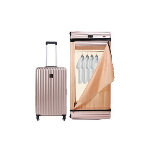 Multifunction 28 Inches Luggage Trolley Cabinet With Swivel Castors - Gold