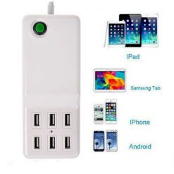1.5 Meter  6 Port 2.0A USB Desktop Charger - White