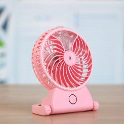 Mini USB Rechargeable Fan With Water Mist Spray - Pink