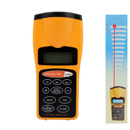 18 Meters Ultrasonic Distance Measurer with Laser Pointer - Yellow