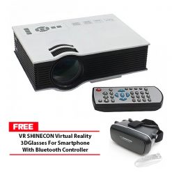800 Lumens LED Projector With Built In VGA Port Multimedia Projector - White with Free VR SHINECON Virtual Reality 3D Glasses For Smartphone With Bluetooth Controller - Black