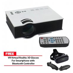 800 Lumens LED Projector With Built In VGA Port Multimedia Projector - White With Free VR Virtual Reality 3D Glasses For Smartphone with Bluetooth Controller - Black