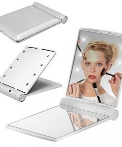 Pocket Makeup Mirror With LED Light - White