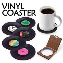 Coasters Vinyl Record Retro Coffee Mats Set of 6 - Black