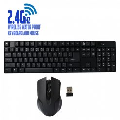 24Ghz Wireless Waterproof Keyboard and Mouse - Black