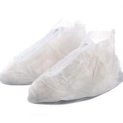 Plastic Zip Up Shoe Cover for Men - White
