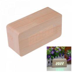 LED Light Wooden Alarm Clock 4.5 x 15 x 10 cm - Brown