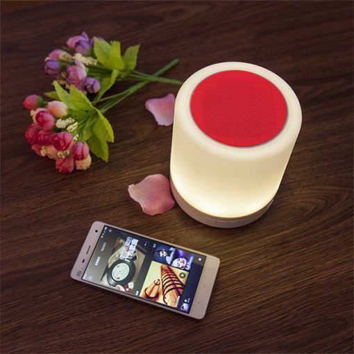 Bluetooth Speaker Led Lamp with FM Radio And Micro SD Card Slot To Play Mp3  - Red