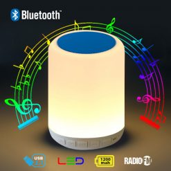 Bluetooth Speaker Led Lamp with FM Radio And Micro SD Card Slot To Play Mp3  - Blue