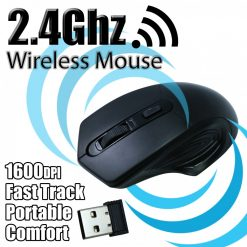 Portable Optical Wireless USB Mouse 2.4Ghz USB 3.0 Bluetooth - Black