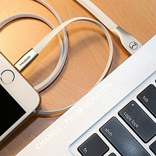 Mcdodo 2 Meters Micro USB Zinc Alloy Rhombus Flat Data Charging Cable - White