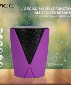 AEC BQ-616 Multifunction Bluetooth Speaker With FM Radio And MP3 Player - Purple
