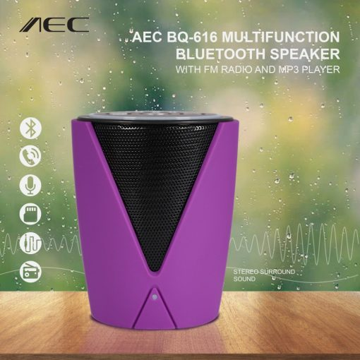 AEC BQ-616 Multifunction Bluetooth Speaker With FM Radio And MP3 Player - Purple