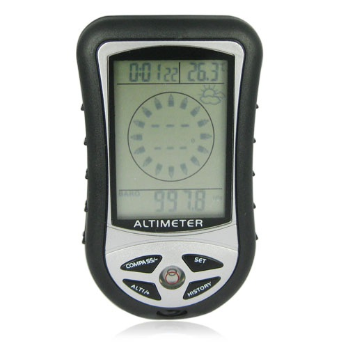 8-in-1 Multifunction Digital Altimeter with 2.2 Inch LCD Screen - Black